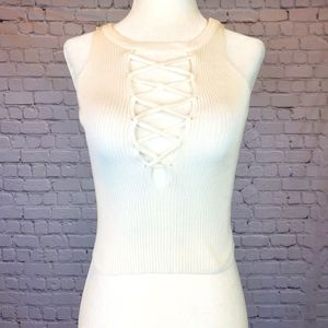 Choies white lace front crop top sz. Small